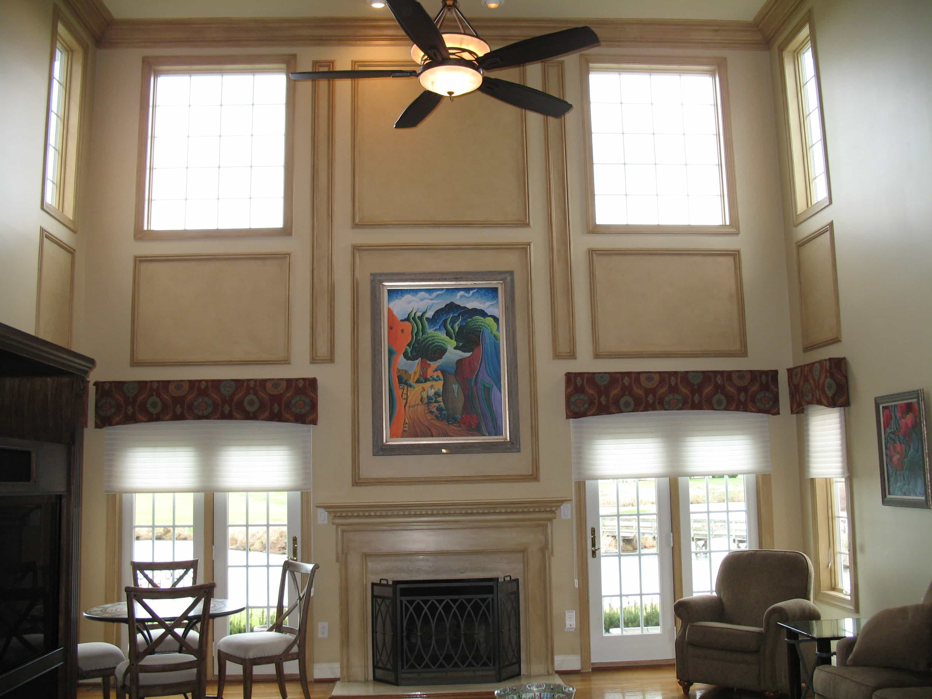 room with high ceiling after improvements are made