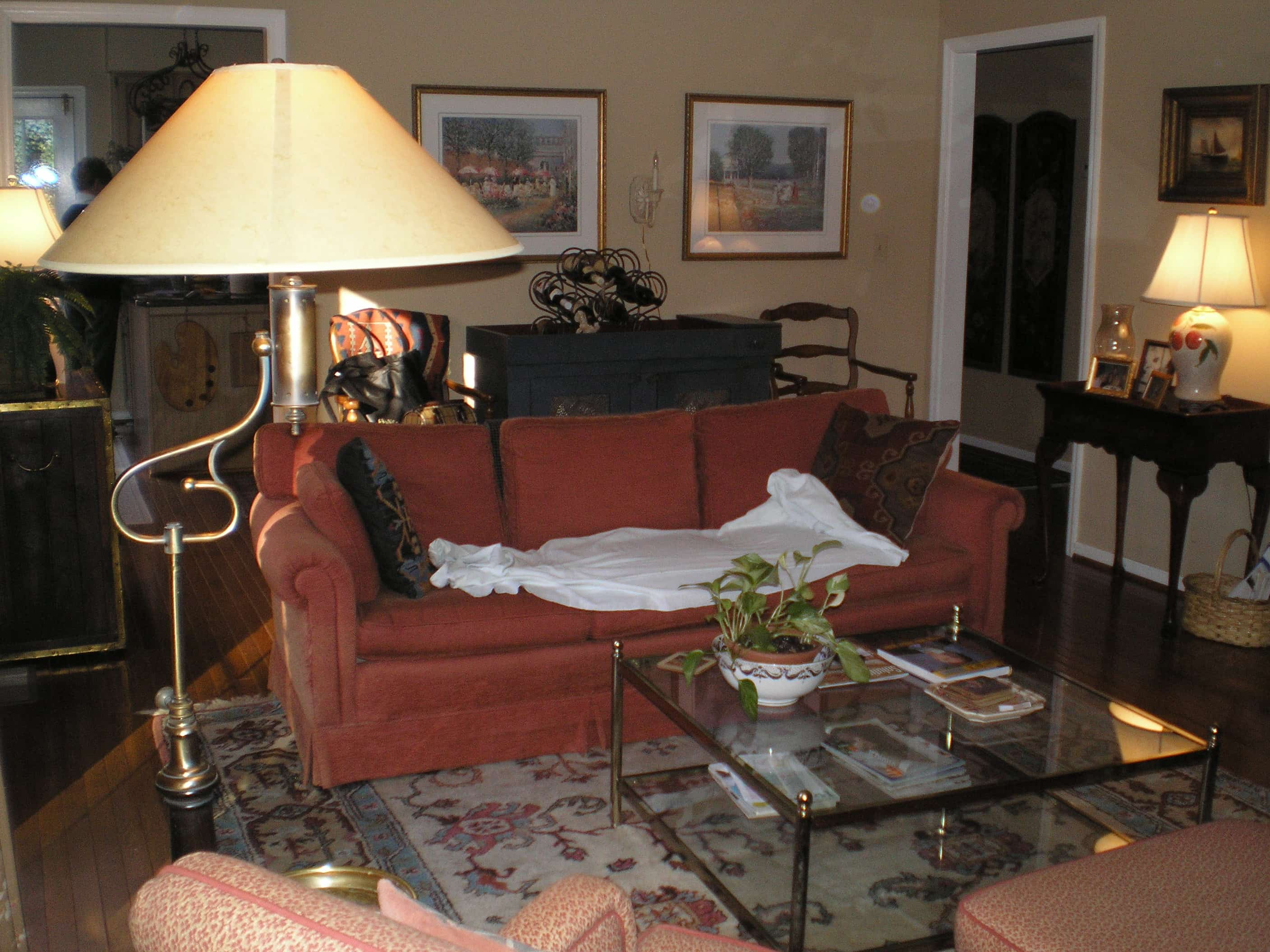 decluttering a cluttered living room